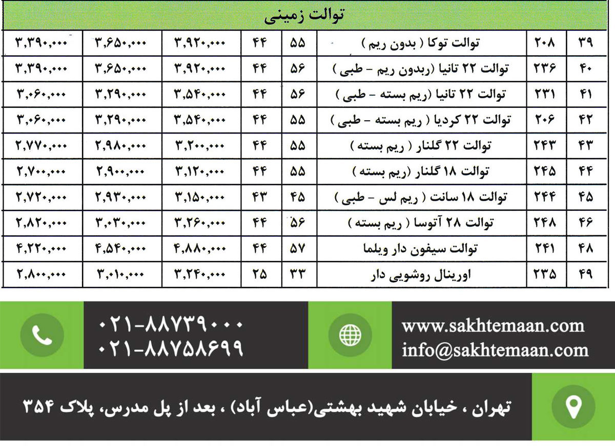 لیست قیمت توالت ایرانی پارس سرام